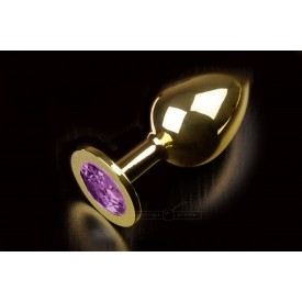 Большая золотая анальная пробка с закругленным кончиком и фиолетовым кристаллом - 9 см.